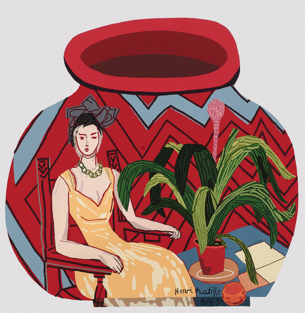 Jonas Wood, Red Portrait Pot, 2015. Oil and acrylic on canvas, 76 x 74 in 193 x 188 cm. © Jonas Wood. Photo: Brian Forrest. Courtesy the artist and Gagosian