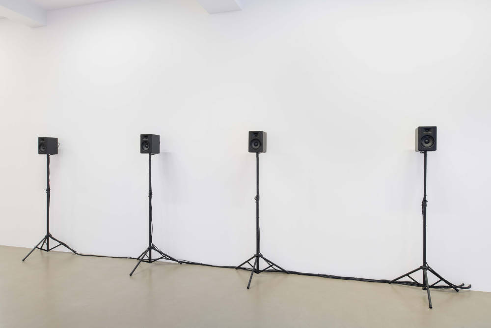 Hassan Khan, Live Ammunition!, 2015. 4 channel audio piece. Edition of 3 + 1 AP. Courtesy of the artist and Galerie Chantal Crousel, Paris. Photo : Martin Argyroglo