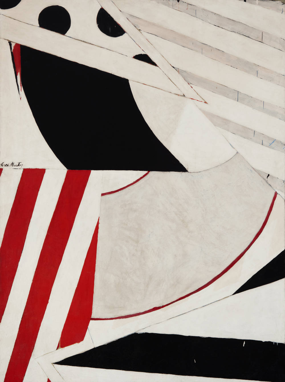 Knox Martin (b. 1923), Shape Shifter, 1962. Signed center left: Knox Martin. Inscription on stretcher verso. Magna acrylic on canvas 92 x 69 inches
