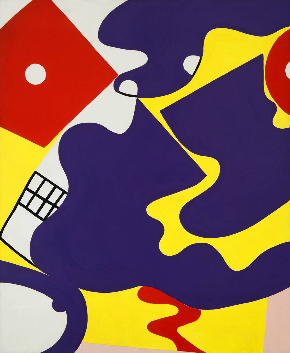 Knox Martin (b. 1923), She no.1, 1972. Signed and inscribed verso: Knox Martin / Woman's Face / Purple Breasts. Acrylic on canvas 90 x 74 inches
