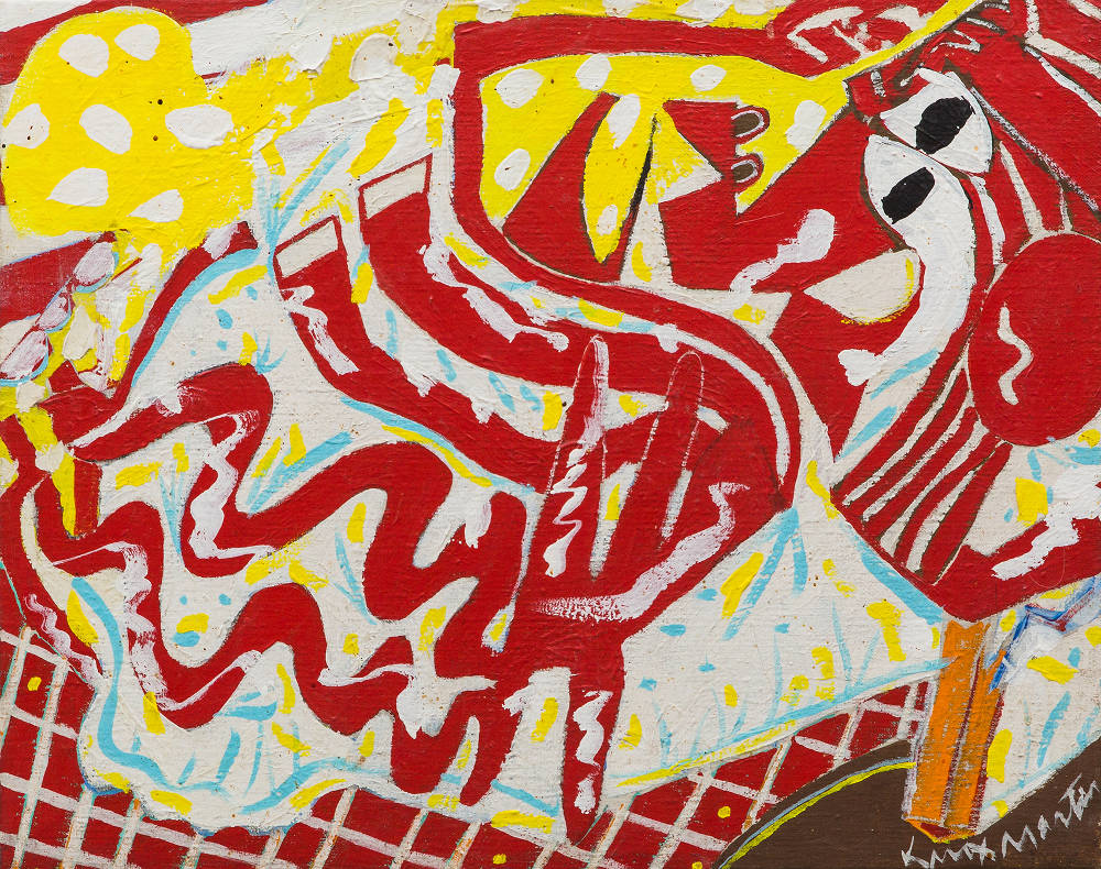 Knox Martin (b. 1923), Red Woman, 1975. Signed lower right: Knox Martin. Acrylic on linen 16 x 19 1/2 inches