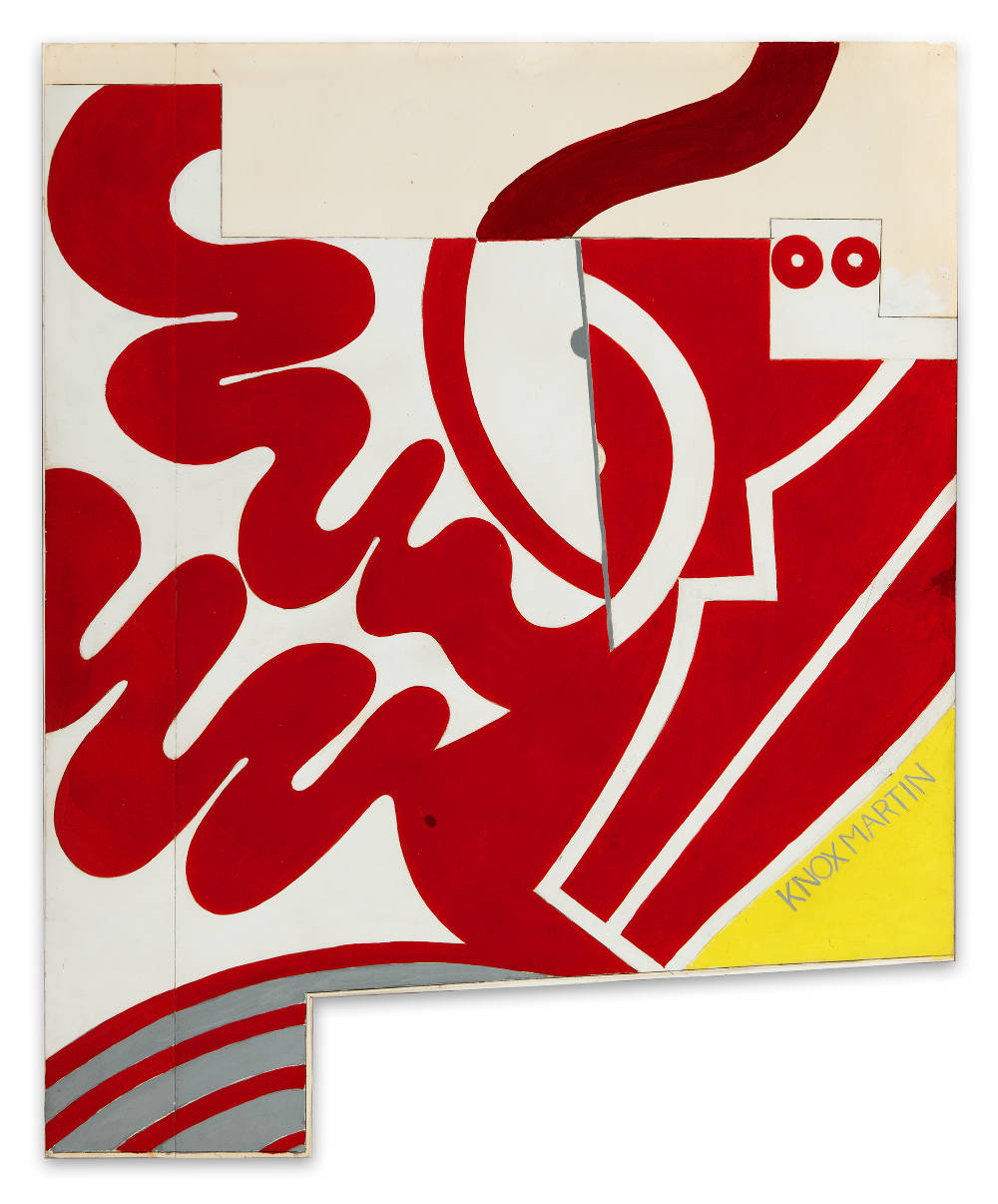 Knox Martin (b. 1923), Maquette for Wall Mural, 1975. Signed lower right: KNOX MARTIN. Acrylic and graphite on paper mounted to foamcore 43 (H) x 35 (W) x 1 (D) inches