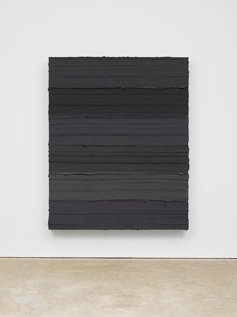 Jason Martin, Untitled (Cobalt blue deep / Stil de grain / Graphite grey), 2019. Oil on aluminium 220 x 180 cm 86 1/2 x 70 3/4 in © Jason Martin. Courtesy Lisson Gallery