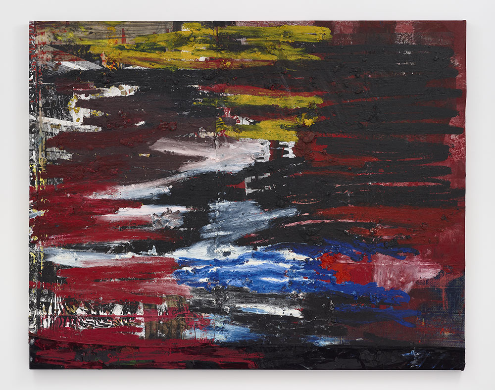 Oscar Murillo, Untitled (news), 2016-19. Oil, and oil stick on canvas and linen  © Oscar Murillo. Courtesy the artist and David Zwirner