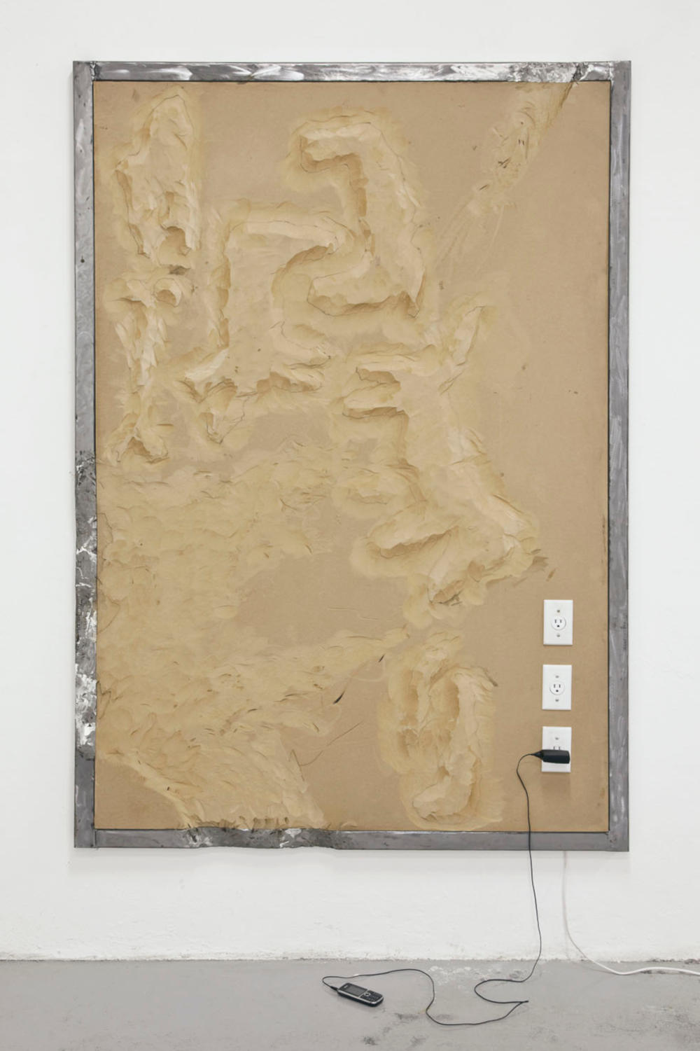 Neil Beloufa, Dogs from the Series Vintage, 2012. Compressed wood, electrical socket, iron structure 140x200x6cm