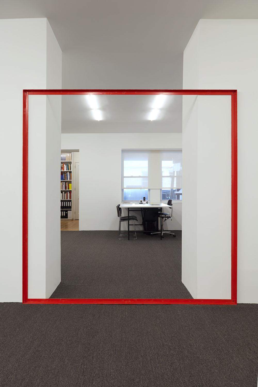 Henrik Olesen, Red Square, 2019. Aluminum, enamel, hardware, tape dimensions: 205.7 x 205.7 x 5.1 cm. Courtesy Galerie Buchholz Berlin/Cologne/New York