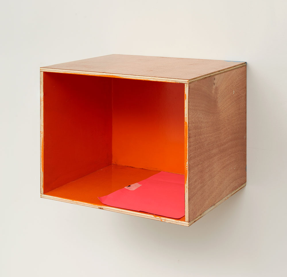 Henrik Olesen, Festival of the Unconscious: Orange Wall, 2019. Wood, acrylic, lacquer, paper 32 x 39 x 32.5 cm. Courtesy Galerie Buchholz Berlin/Cologne/New York
