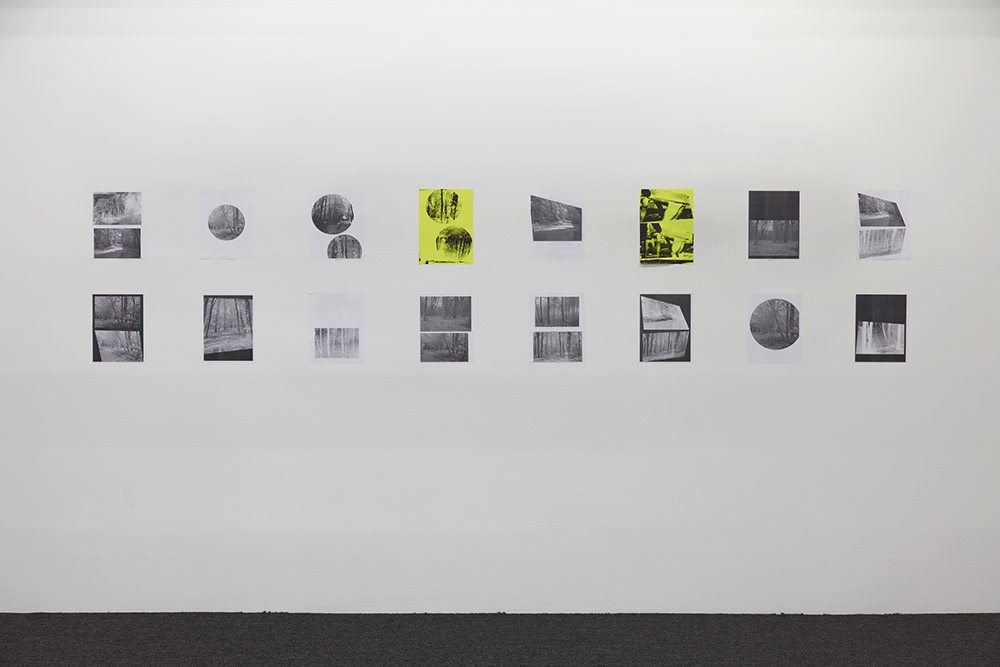 Henrik Olesen, A Forest, 2019. 16 collages on paper, 2 silkscreens and 14 laserjet prints each 29.7 x 21 cm, overall: 68.8 x 320 cm. Installation view Galerie Buchholz, New York 2019. Courtesy Galerie Buchholz Berlin/Cologne/New York