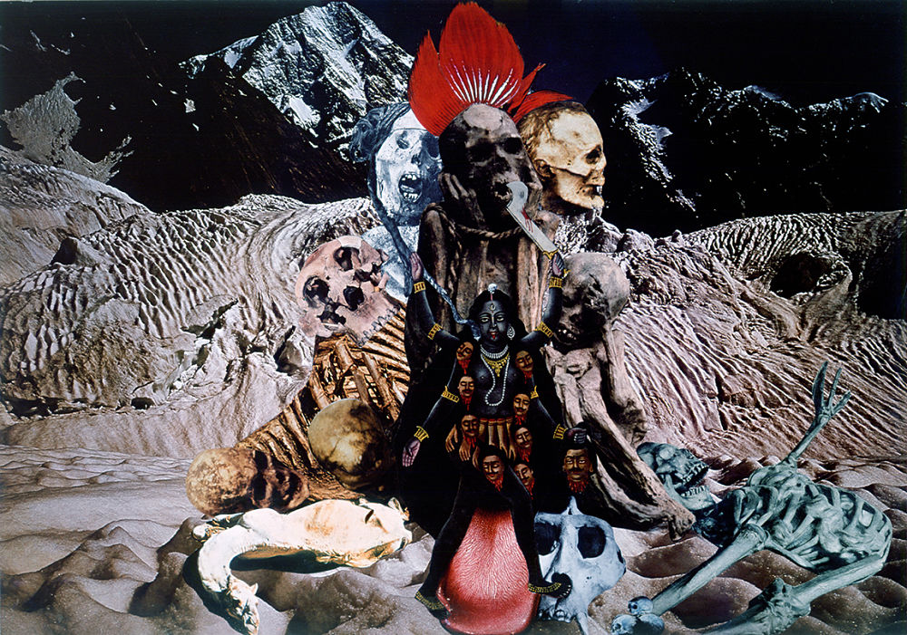 Penny SLINGER, At the Feet of Kali, 1976/77. Photo collage on board 41.9 x 58.4 cm. Copyright the Artist; Courtesy Richard Saltoun Gallery
