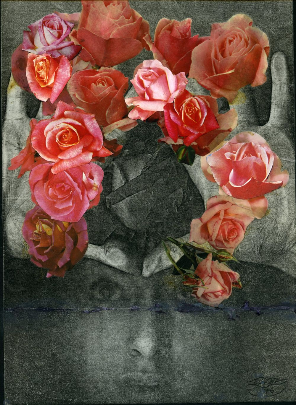 Penny SLINGER, Bouquet, 1976. Xerox self body print with collage 30.5 x 20.3 cm. Copyright the Artist; Courtesy Richard Saltoun Gallery