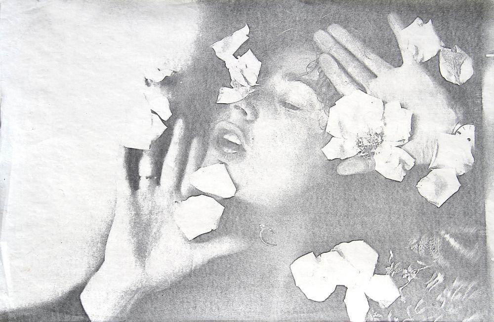 Penny SLINGER, Coming Up Roses/Petals Fall-2, 1974. Xerox self monoprint 29.2 x 48.3 cm. Copyright the Artist; Courtesy Richard Saltoun Gallery