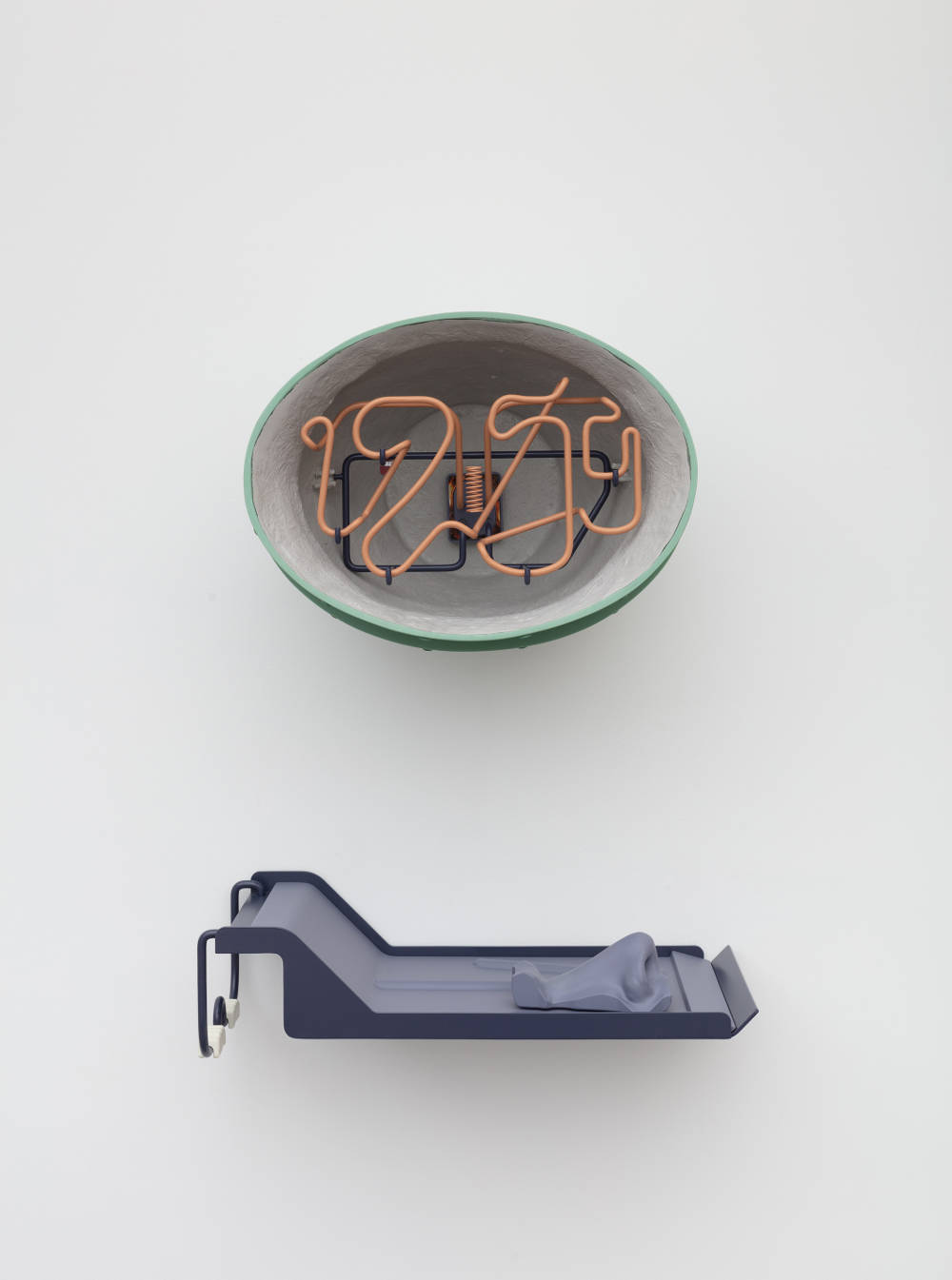 Magali Reus, Empty Every Night (12:59 Bell and Hammer), 2019. Fiberglass, polyester resin, pigments, powder coated steel rod and aluminum, sprayed UV printed resin, sprayed plywood, airbrushed resin, C-type print, acrylic; 2 parts 41 x 53 x 40 cm / 16 1/8 x 20 7/8 x 15 3/4 in 17 x 63 x 32 cm / 6 3/4 x 24 3/4 x 12 5/8 in © Magali Reus. Courtesy the artist and Galerie Eva Presenhuber, Zurich / New York. Photo: Lewis Ronald
