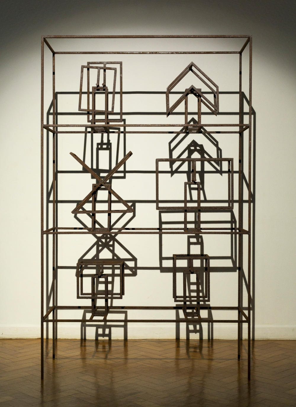 Raul Mourão, Estante das maquetes Valendo #1, 2019. 1020 steel with synthetic resin 240 x 146 x 53 cm 94.5 x 57.5 x 20.9 in. Courtesy of the artist and Galeria Nara Roesler
