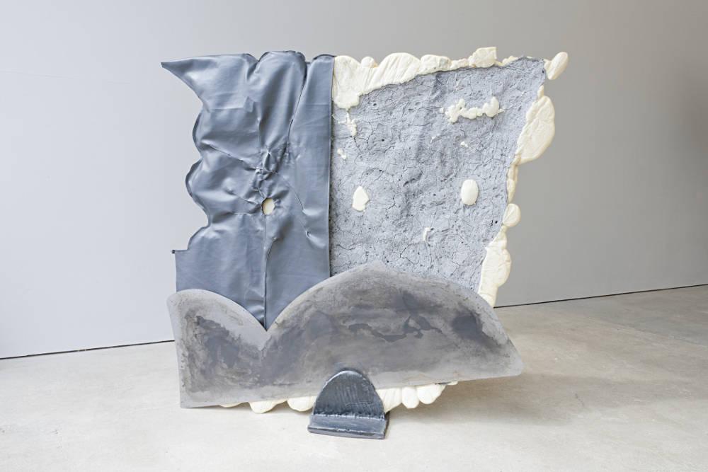 Laura White, Stay 1, 2019. Dried bread dough, food colour, polyurethane foam, mild steel, patina, nylon fabric, cotton, glazed ceramic (black clay) and cord foam. 115 x 115 x 24cm. Photo: Cameron Leadbetter