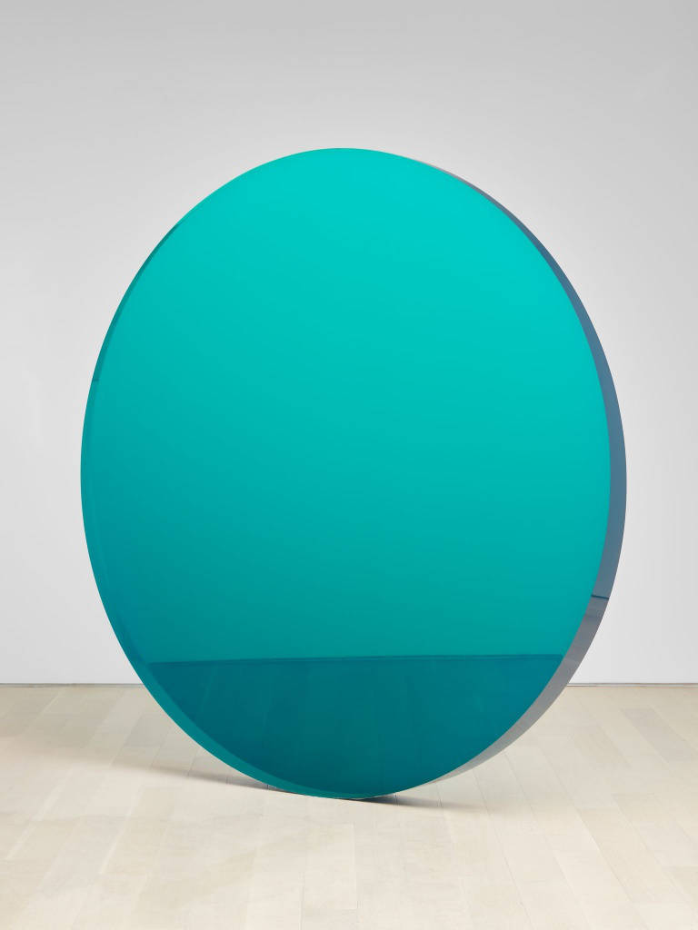 De Wain Valentine, Circle Blue Green, 1972, casted in 2019. Cast polyester resin 75 3/4 x 75 3/4 x 6 in 192,4 x 192,4 x 15,2 cm