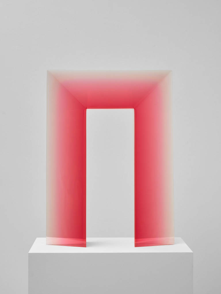 De Wain Valentine, Portal Rose, 1969, casted in 2014. Cast polyester resin 23 7/8 x 17 1/2 x 3 5/8 in 60,6 x 44,5 x 9,2 cm