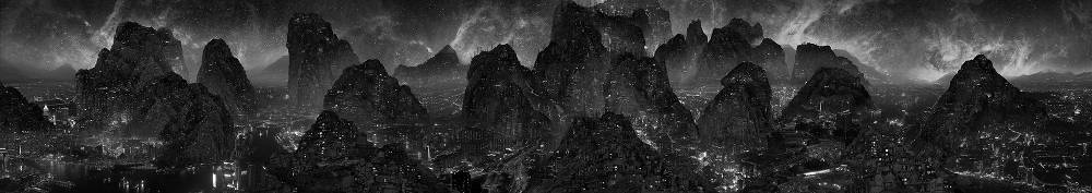 Yang Yongliang, Journey to the Dark, 2017. 3-Channel 4K Video