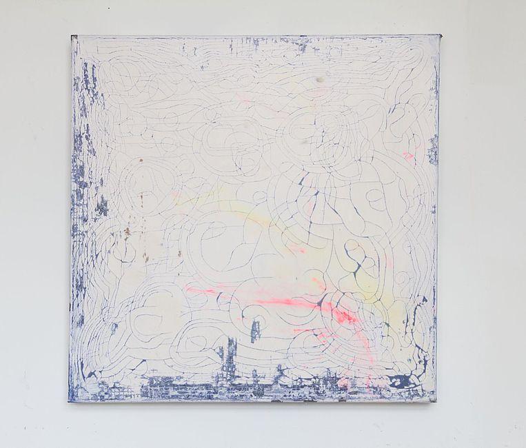 Myriam Holme, entrückt ins zeitlose, 2019. Soap, ink on canvas 70 x 70 cm 27 1/2 x 27 1/2 in