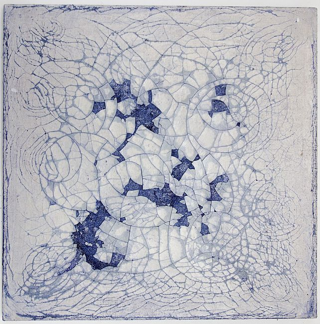 Myriam Holme, tanzende erinnerung, 2019. Soap, ink, pigment, acrylic color on jute 60 x 60 cm