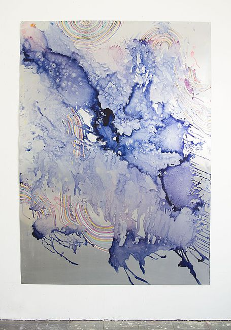 Myriam Holme, vom werden, dem fallenden, 2019. Ink, water colour on Aluminium 193 x 140 cm 76 x 55 in