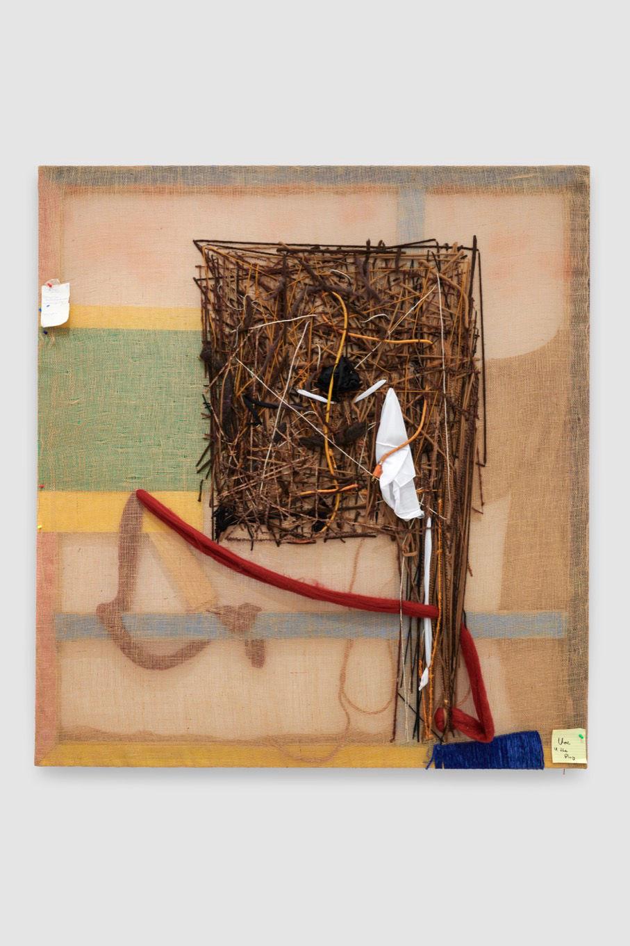 Alvaro Barrington, Unc you the plug, 2019. Mixed media on burlap 182.9 x 167.6 cm (72 x 66 in) Courtesy the artist © Alvaro Barrington