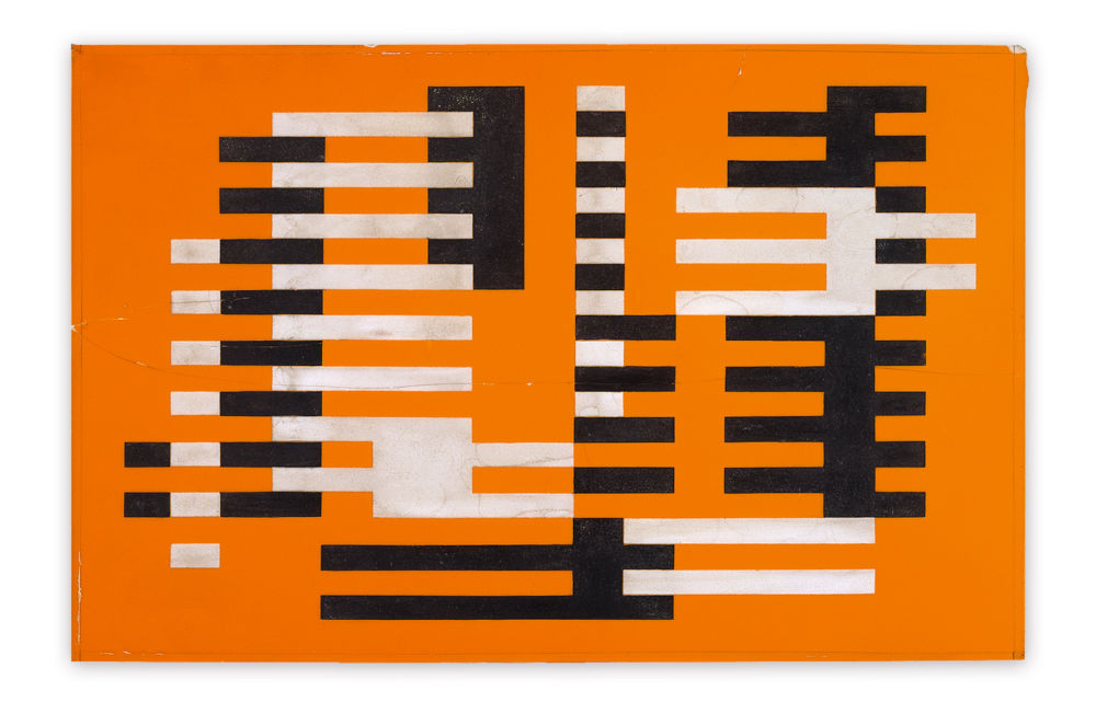 Josef Albers, Tectonische Gruppe (Tectonic group), 1925. Sand blasted orange opaque glass, white etching, black paint 29.6 x 45.6 cm / 11 5/8 x 18 in © 2019 The Josef and Anni Albers Foundation / 2019 ProLitteris, Zurich