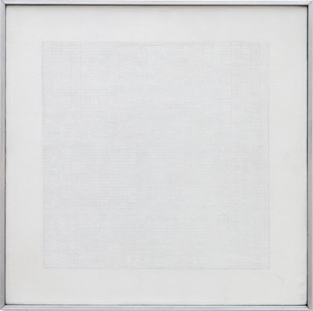 Agnes Martin, Spring, 1965. Oil and pencil on canvas. Painting: 30.48 x 30.48 cm (12 x 12 in) Collection of J&M Donnelly © Agnes Martin / Collection of J&M Donnelly / DACS 2019. Photo: Richard Ivey