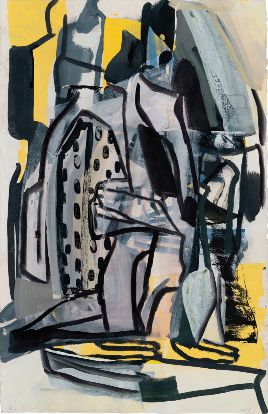 Amy Sillman, SK73, 2019. Acrylic, ink, and silkscreen on paper 101.6 x 66 cm (40 x 25.98 in) Courtesy of the artist and Gladstone Gallery, New York and Brussels. Photo: John Berens © Amy Sillman