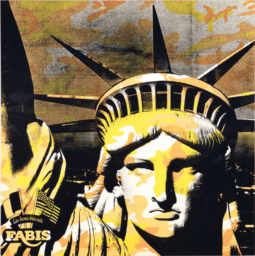 Andy Warhol, Statue of Liberty, 1986. Synthetic polymer paint and silkscreen ink on canvas 183 x 183 cm (72 x 72 in) Collection Thaddaeus Ropac © Andy Warhol, Image © 2019 The Andy Warhol Foundation for the Visual Arts, Inc. / Licensed by DACS, London, collection Thaddaeus Ropac