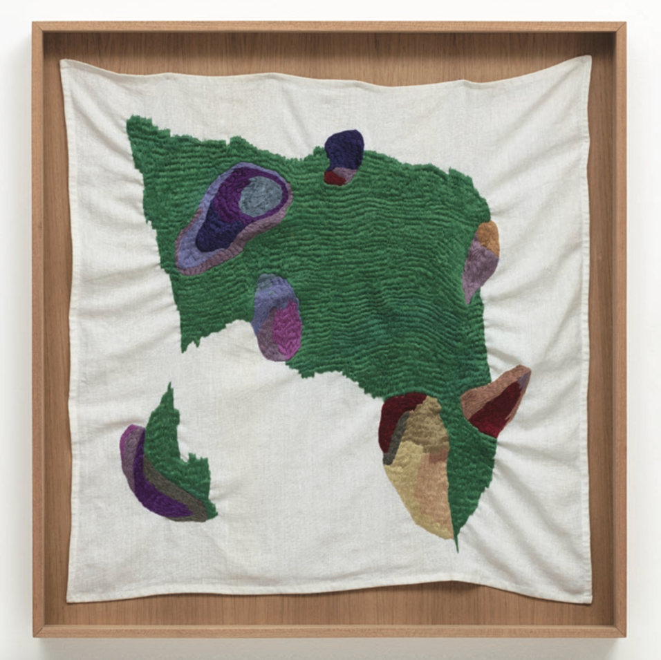 Brígida Baltar, Os hematomas da planta, 2016. Embroidery on fabric 73,5 x 77,5 cm 28.9 x 30.5 in. Courtesy of the artist and Galeria Nara Roesler