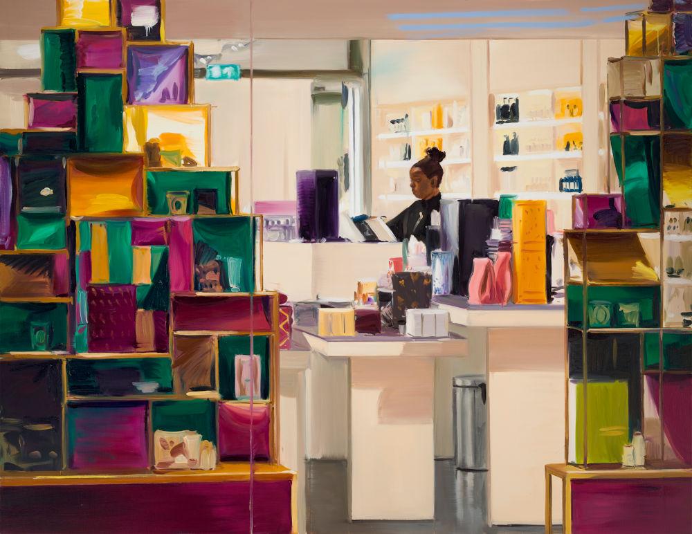 Caroline Walker, The Wishlist, 2019. Oil on linen 170 x 220 cm 66 7/8 x 86 5/8 in © Caroline Walker. Courtesy the artist and Victoria Miro, London/Venice and GRIMM Amsterdam/ New York