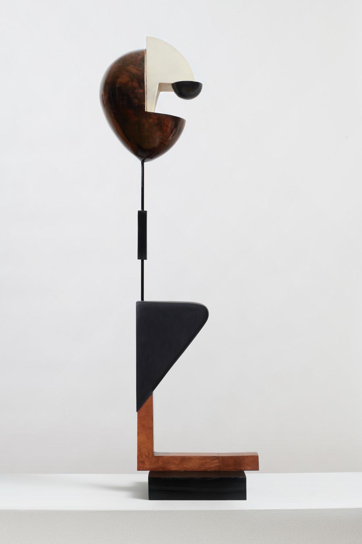 Christina Kruse, Matrose, 2019. Wood, oil, acrylic paint, metal, ink, wax, and varnish 36 x 5.5 x 10.5 inches