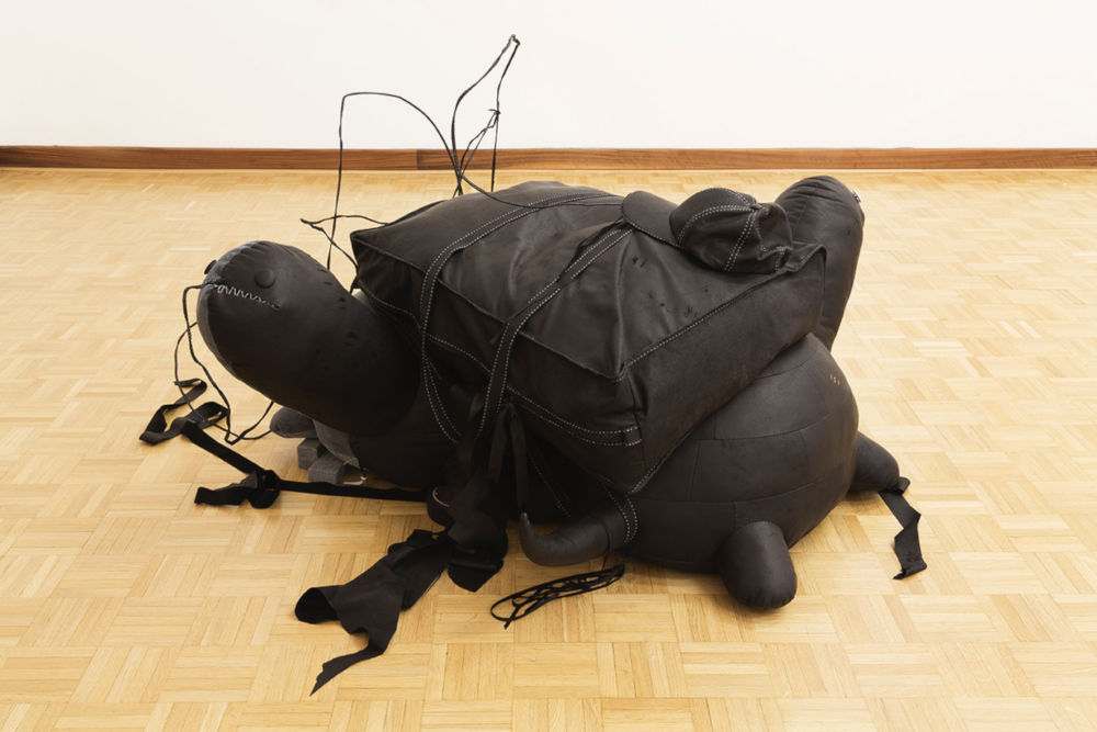 Min Yoon, Double (2), 2019. Leather, thread, cardboard, metal wire Filling: polyester 60 x 125 x 105 cm