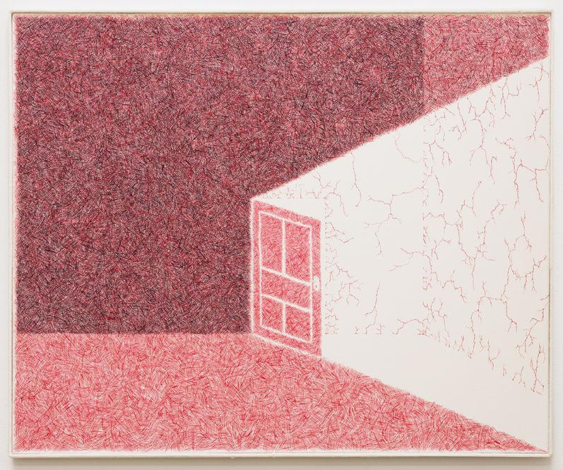 Min Yoon, < Picture 13 >, 2019. Water-miscible oil paint on linen Frame: wood, merino wool 72 x 85 cm