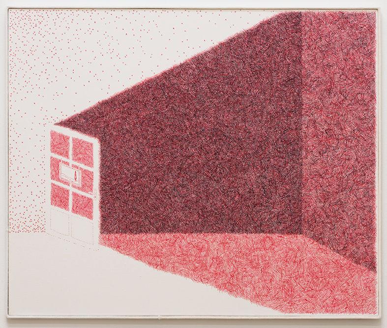 Min Yoon, < Picture 13 >, 2019. Water-miscible oil paint on linen Frame: wood, merino wool 72 x 86 cm