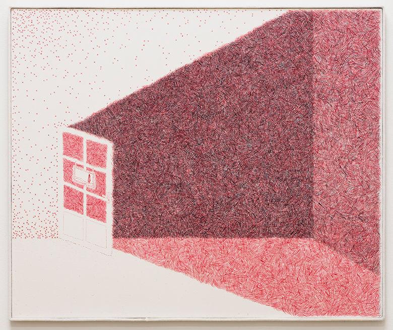 Min Yoon, < Picture 13 >, 2019. Water-miscible oil paintl on linen Frame: wood, merino wool 71 x 84 cm