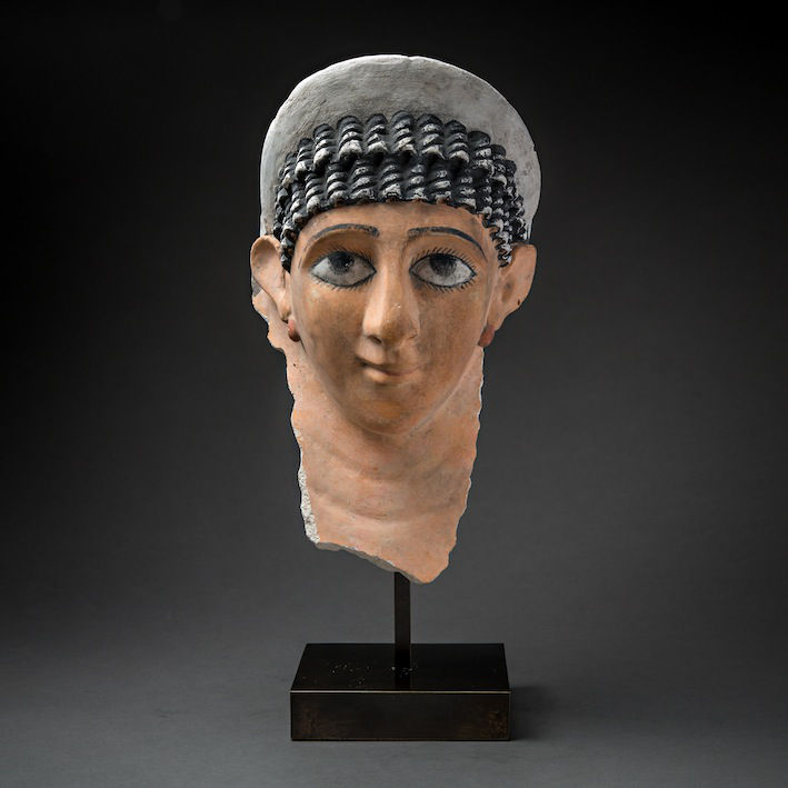 Roman Period Funerary Mask of a Woman, c.100 - 300 CE, 25 x 25 x 20 cm Egypt