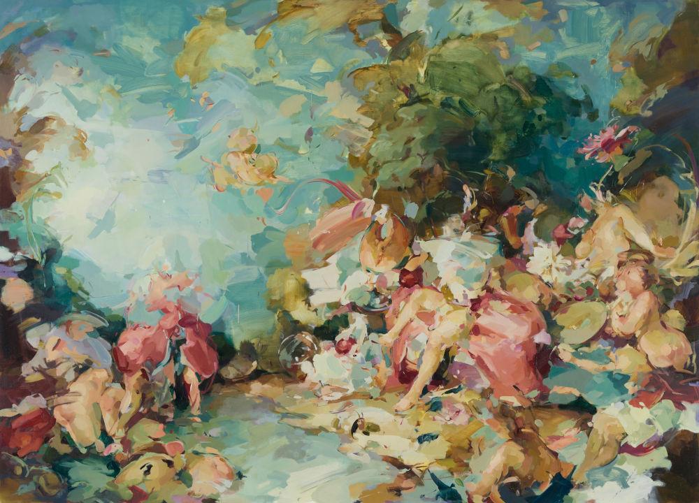 Flora Yukhnovich, If All the World Were Jell-O, 2019. Oil on linen 180 x 250 cm © Flora Yukhnovich. Courtesy the artist and Victoria Miro, London/Venice and Parafin London