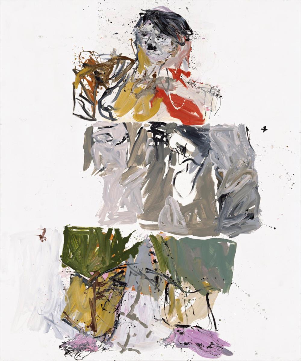Georg Baselitz, Drei Streifen Mantel (Remix), 2007. Oil on canvas 300 x 250 cm (118.11 x 98.43 in) Galerie Thaddaeus Ropac © Georg Baselitz 2019. Photo: Jochen Littkemann