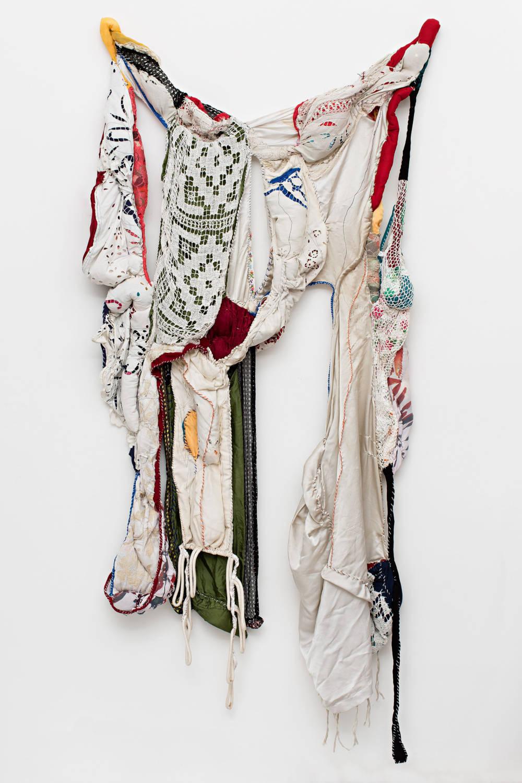 Sonia Gomes, Tecidos Leves Atados em Força, 2013. Stitching, moorings, fabrics and laces 230 x 100 x 20 cm / 90 1/2 x 39 3/8 x 7 7/8 in © Sonia Gomes