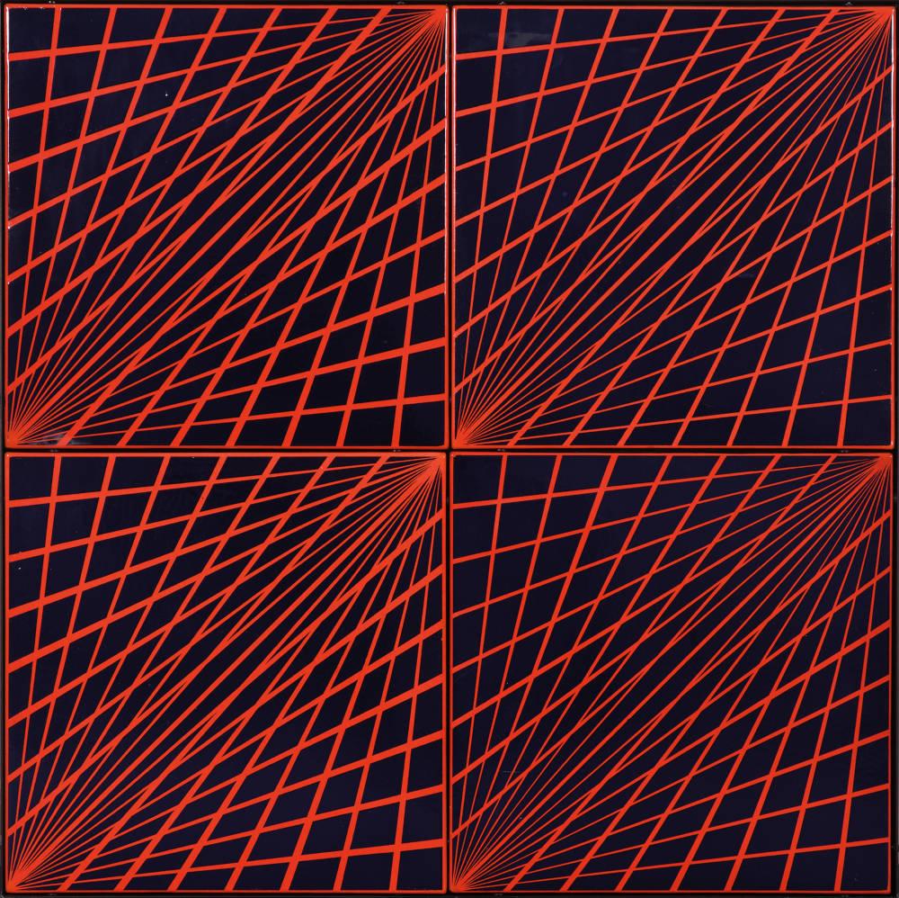 Károly Hopp-Halász, Radial Enamel (Red-Blue), 1969. Enamel on metal plate 90 x 90 cm, 35 1/2 x 35 1/2 inches
