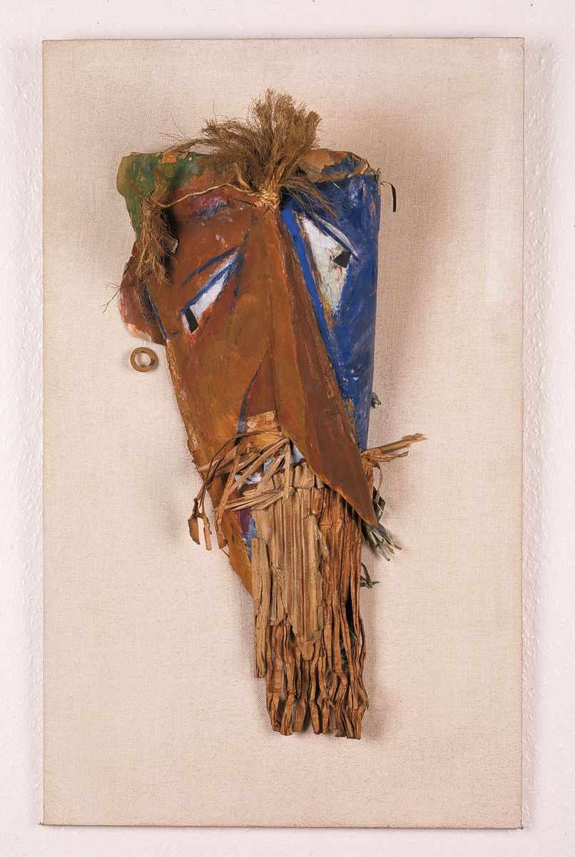 Marcel Janco, Mask for Firdusi, 1917-1918. Wood, board, raffia, paint, various materials 80 x 47.9 x 21.6 cm / 31 1/2 x 18 7/8 x 8 1/2 in. Courtesy Hauser & Wirth
