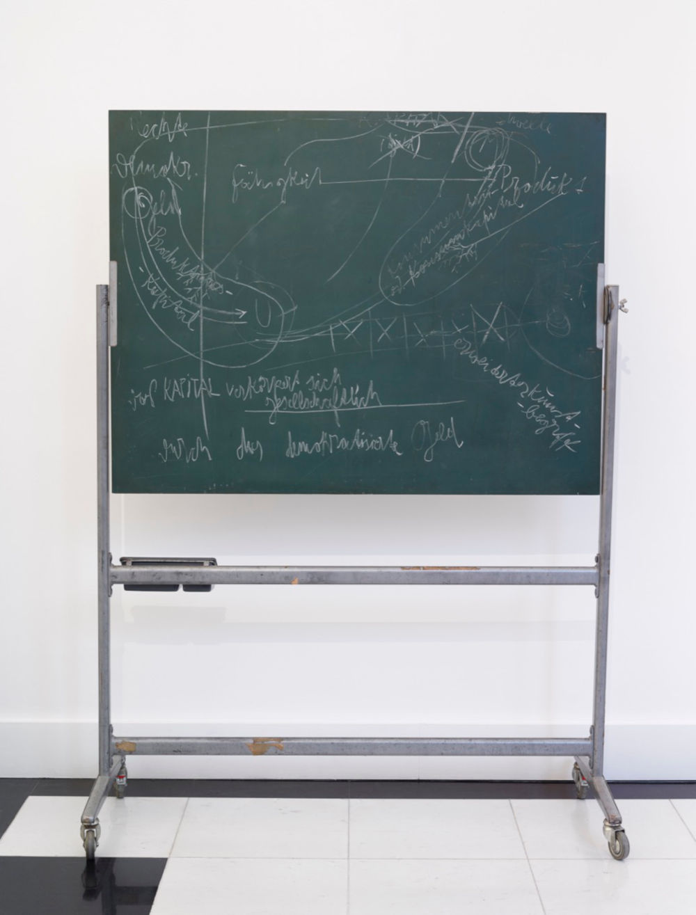 Joseph Beuys, Okologie und Sozialismus (Ecology and Socialism), 1980. Chalk, blackboard, tray and metal stand. Overall: 189.9 x 138.4 x 61 cm (74.76 x 54.49 x 24.02 in) Blackboard: 99.7 x 128.9 cm (39.25 x 50.75 in). Galerie Thaddaeus Ropac © 2019 Estate of Joseph Beuys/DACS 2019. Photo: Tom Carter