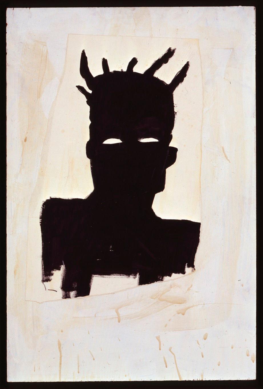 Jean-Michel Basquiat, Self Portrait, 1983. Oil on paper and wood 91.5 x 61 cm (36.0 x 24.0 in) Collection Thaddaeus Ropac © The Estate of Jean-Michel Basquiat / ADAGP, Paris and DACS, London 2019. Collection Thaddaeus Ropac. Photo: Stephen White