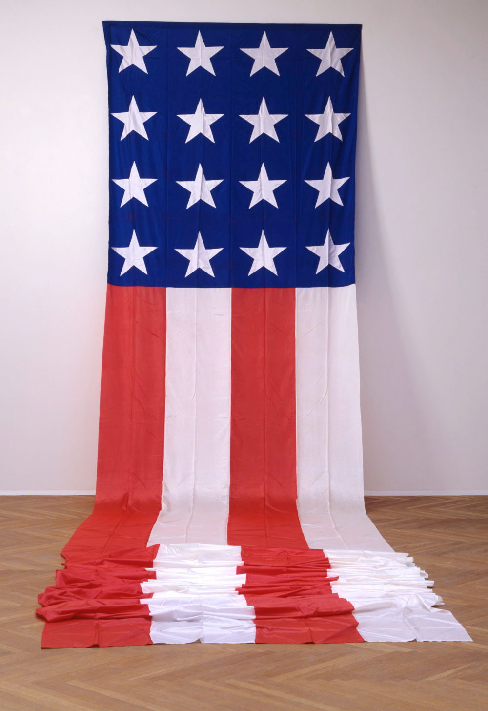 James Lee Byars, The American Flag, 1974. Silk acetate 380 x 88 inches 965 x 223.5 cm