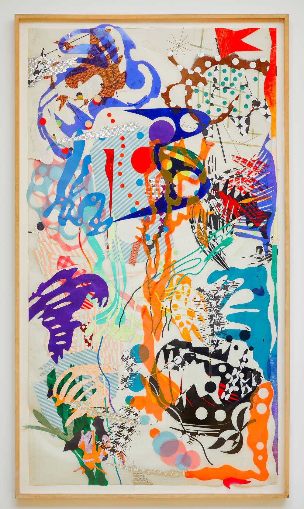 Judy Pfaff, Untitled (shower curtain), c. 1979. Mixed adhesive plastics, paint and paper, 80 1/2 x 44 1/8 in., 204.5 x 112.1 cm