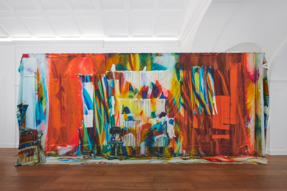 Katharina Grosse, Untitled, 2019. Digital print on silk 290 x 600 cm (114.17 x 236.22 in) Ed. of 3 + 1 AP. Courtesy Katharina Grosse und VG Bild-Kunst Bonn, 2019 © Katharina Grosse and DACS 2019