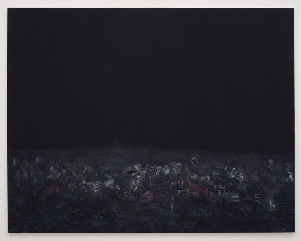 Guillermo Kuitca, Double eclipse, 2013. Oil on canvas 283 x 362 cm / 111 3/8 x 142 1/2 in. Photo: Eduardo Ortega © Guillermo Kuitca. Courtesy the artist and Hauser & Wirth