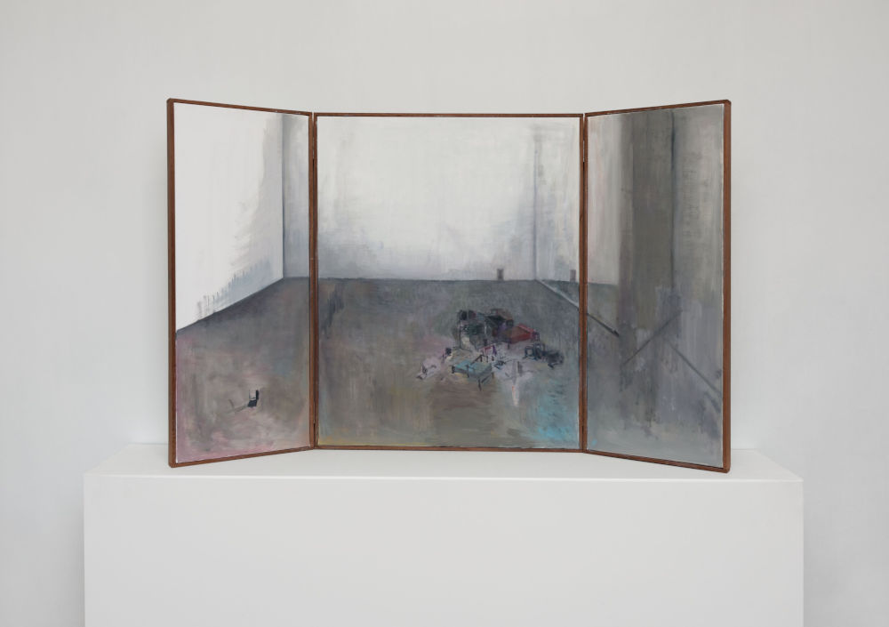 Guillermo Kuitca, The Family Idiot, 2018. Oil on canvas in artist frame, triptych 102 x 167.5 cm / 40 1/8 x 66 in © Guillermo Kuitca. Courtesy the artist and Hauser & Wirth
