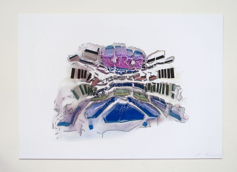 Guillermo Kuitca, Untitled (Covent Garden), 2018 - 2019. Mixed media on paper 29 x 42 cm / 11 3/8 x 16 1/2 in © Guillermo Kuitca. Courtesy the artist and Hauser & Wirth